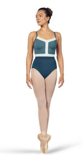 BLOCH Ladies Dance Camisole Leotard Colour Panels Amora L4937 Seaport Blue